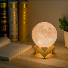 Leedome Rechargeable 3D Print Moon Table Lamp 2 Color Change Touch Switch For Bedroom Bookcase Decor Night Light Creative Gift(China)