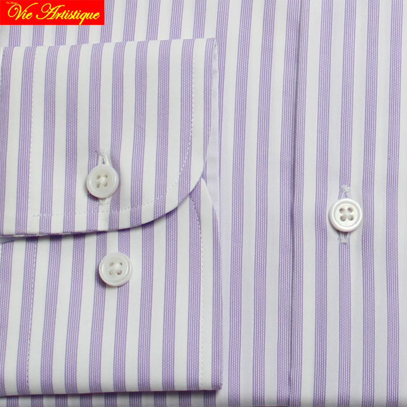 268f543dd0 2019 Camisa Masculina Men's Long Sleeve Purple White Striped Dress ...