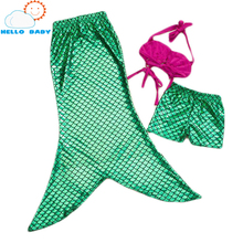 lovely quality baby Cosplay Costume Mermaid Sets Kids for Girl Fishtail Princess Ariel Skirt Sets Fancy Green Hot Children Suit(China)