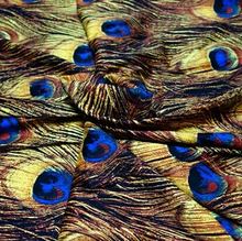 50*145cm European American style retro peacock feathers yellow satin printed fabric micro-bomb cloth