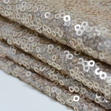 1 Yard Glitzy Champagne Embroidered Sequin Fabric Material Mesh Lace Sequin Fabric For Clothes Dress Wedding Decor Table Cloth