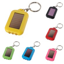 Mini LED Keychain Solar Flashlight Key Chain Solar Rechargeable Portable 2 Modes Tube Keyring Light Lamp Torch Sent at random