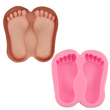 2 hold Sole Foot Silicone Fondant Soap 3D Cake Mold Cupcake Jelly Candy Chocolate Decoration Baking Tool Moulds FQ1930(China)