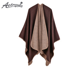 [AETRENDS] 2017 New Solid Color Thick Cashmere Feel Winter Poncho Women Scarf Warm Open Up Pashmina Cape Z-5477()