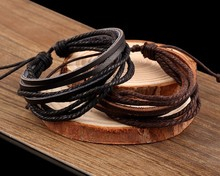 For Party decor favor  Wrap Leather Bracelets & Bangles for Men and Women Black and Brown Braided Rope Fashion Man Jewelry