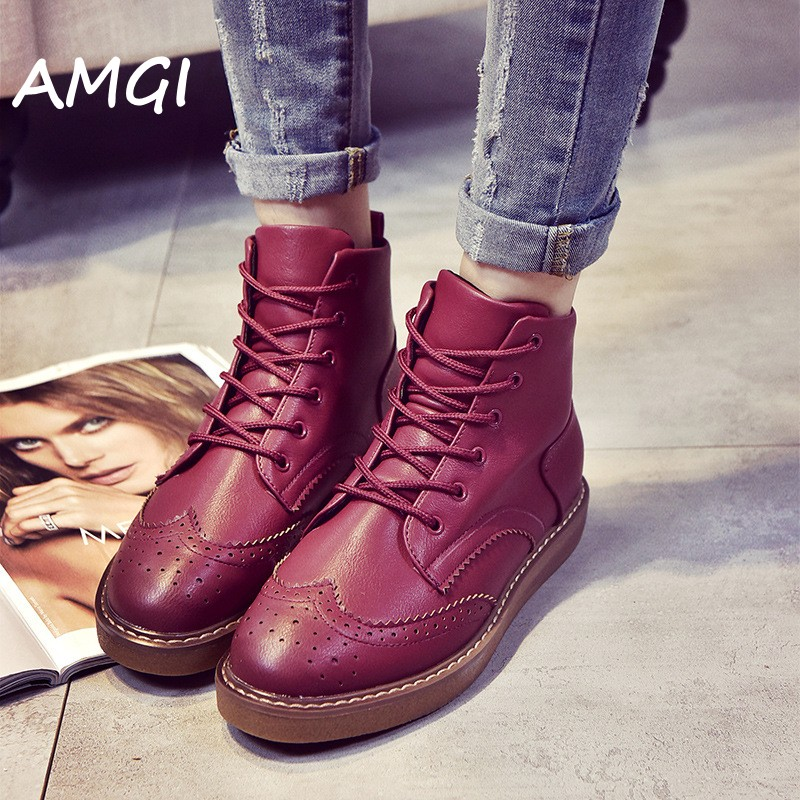 Meigel Brand Autumn Women Platform Shoes Woman  Patent Leather Flats Lace Up Footwear Female Flat Oxford Shoes For Women 358