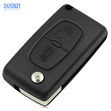 New Flip Folding 2 Button Remote Key Case Shell For PEUGEOT 307 308 107 207 407 408 With Groove CE0523 with logo