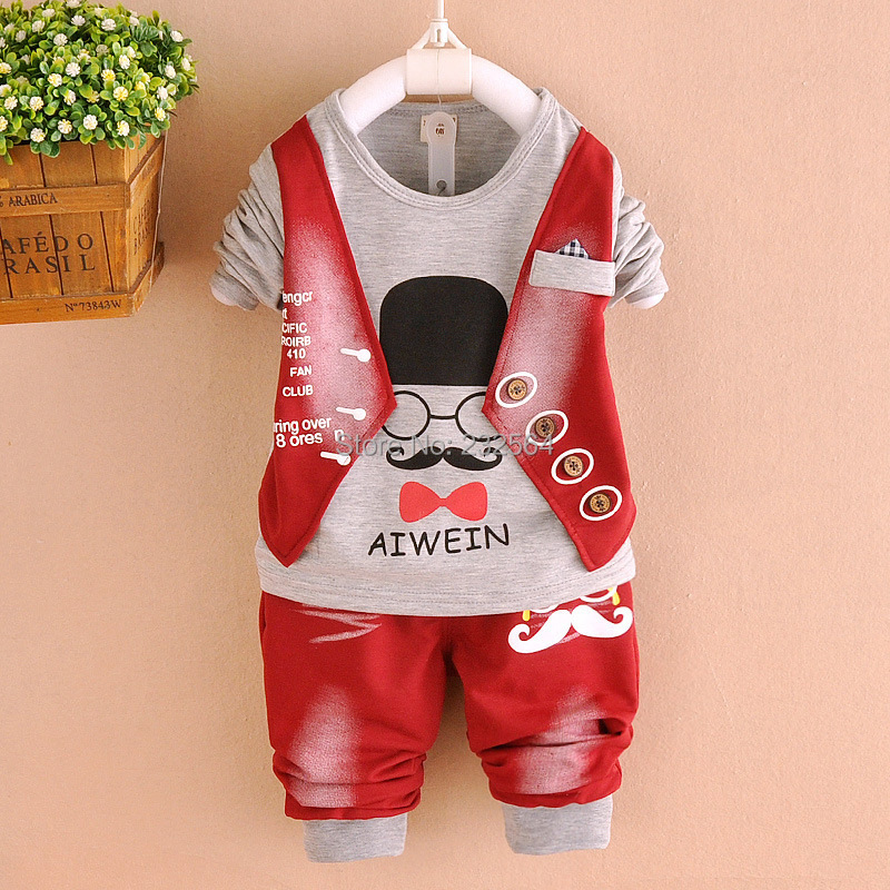 2015 spring new Korean fashion childrens clothing Fake two-piece child clothes Beard spell color stitching boy clothing Set<br><br>Aliexpress