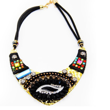 Factory direct sale jewelry wholesale big national gems personality retro necklace acrylic inlaid colorful eye necklaces gift