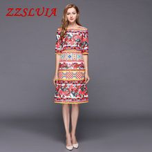 S-XL Retro red rose plaid printed designer O neck half sleeve slim jacquard dresses 2017 new nice women's dress 092920(China)