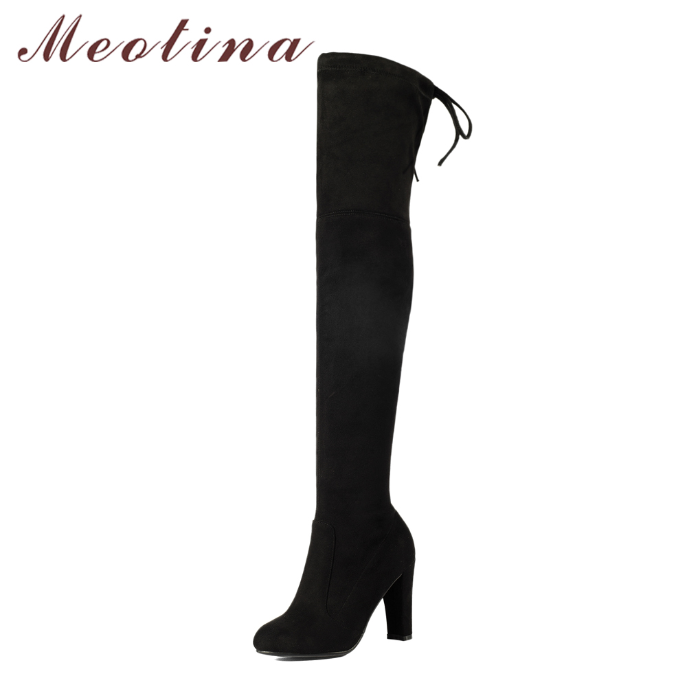 Meotina Brand Design Women High Boots High Heels Over the Knee Boots 2018 Winter Slim Thigh High Boots Autumn Shoes Black Red<br>