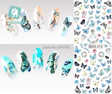 RU2PCS DS072 2017 Nail Design Water Transfer Nails Art Sticker Color Butterfly Nail Wraps Sticker Watermark Fingernails Decal(China)