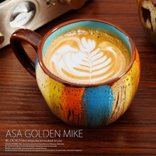 Latte Art Coffee cup oatmeal breakfast cup colorful ceramic cup office with cover coffee fest