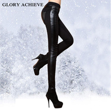 BLACK SEXY!Fashion Winter pants Woman Faux Leather Trousers With Velvet Thicken Casual Legging Show Thin Skinny Pencil Pants(China)