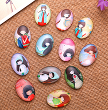 24X 18*25mm Cartoon girl pattern ellipse Handmade Photo Glass Cabochons & Glass Dome Cover Pendant Cameo Settings