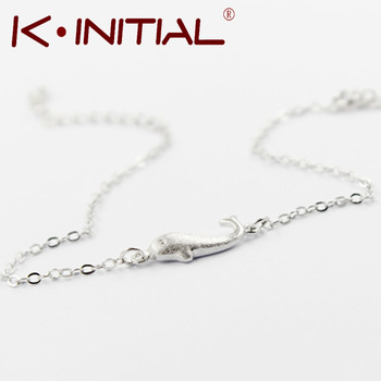 Kinitial 1Pcs 925 Silver Animal Fish Bracelets Bangle Small Whale Charm Chain Bracelets for Women Girl Birthday Gift Jewelry