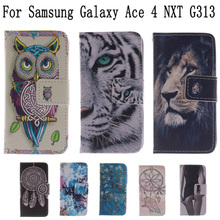 Flip Case capa for coque Samsung Galaxy Ace 4 Case for fundas Samsung Galaxy Ace 4 NXT G313 G313H SM-G313H + Card Holders(China)