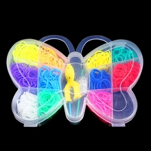 Butterfly Boxed Rainbow Bands DIY Bracelet Russia Colorful Loom Elastic Rubber Bands Charm Plaiting Gum for Weaving Bracelets(China)