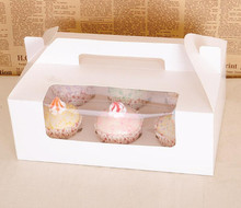 Wholesale 50pcs/lot White 6 Cupcake Cake Box/ Bake Package With PVC Window Size 26*17*H14cm