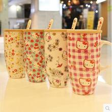 With Spoon Lid Cartoon Flower Strawberry Hello Kitty 600ML Bone Ceramic Coffee Milk Tea Mug Cup Best Christmas Gift For Girl