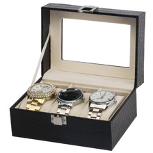 3 Watch Box Crocodile Tricolor Watch Box Black Brown Rose Red Caja Reloj Leatherette Wood(China)