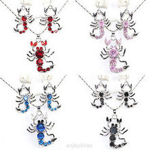 Free deliver Nobility Lucky Women Red Pink Blue Black Cubic Zirconia Crystal Scorpion Pendant Earrings & Necklace Silver hook