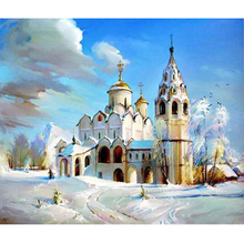 Diy 5d Full diamond painting cross stitch of diamond embroidery the Church landscape diamond mosaic decoration gifts(China)
