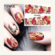YZWLE 1 Sheet DIY Decals Nails Art Water Transfer Printing Stickers Accessories For Manicure Salon YZW-8099