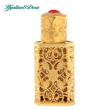 Antiqued Style Refillable Retro Golden Hollow Flower Inlaid With Red Glass Empty Perfume Container  Wedding Decoration Bottle