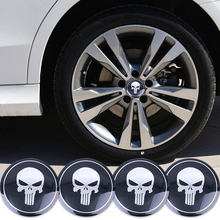 4pcs Punisher Car Steering tire Wheel Center car sticker Hub Cap Emblem Badge Decals Symbol For Honda VW Audi BMW Nissan Ford(China)