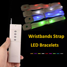 Fashion Led Bracelet With Remote Control Glowing Wristbands Strap Bracelet Nylon Bangles Bracelets for Party Event Decor 50pcs