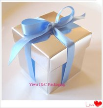 FREE SHIPPING--100pcs 2PC Shiny Silver Wedding Favor Boxes,Event Sweet Candy Box, Party Decoration Box(JCO-115N)