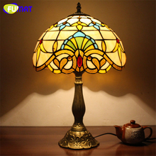 FUMAT Stained Glass Table Lamp Creative Glass Art Lampshade Lampe Living Room Hotel Bar Decor Light Fixtures Baroque Table Lamps(China)