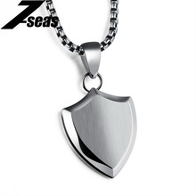 7SEAS Smooth Shield Design Pendant Necklaces For Women/Men Personality Letter Engraving Men Pendant Jewelry Necklace Gift JM1170