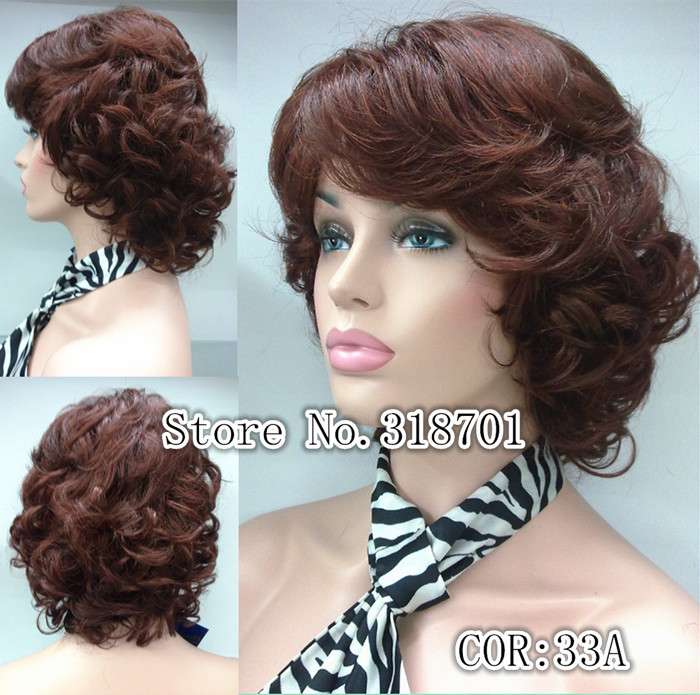 Medium Length Short Burgundy Curly Wig 10COLORS FOR YOU CHOOSE free shipping<br><br>Aliexpress