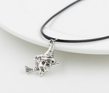 2015 Sale New Fashion Jewelry Vintage Tibetan Silver Broom Witch Charms Pendant Necklace Black Leather Cords Chain 12pcs(China)
