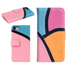 Case For iPhone 6 6s 7 Luxury Lady PU Leather Wallet Cute Pink Patchwork for Girl Women Flip Mobie Phone Cases Bags Cover(China)