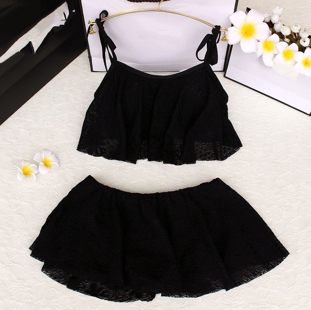 2017 2 Pieces set Elegant Lace Women Skirts swimsuit girl swimwear swimsuit summer Dresses Padded bathing suit Maillot<br><br>Aliexpress