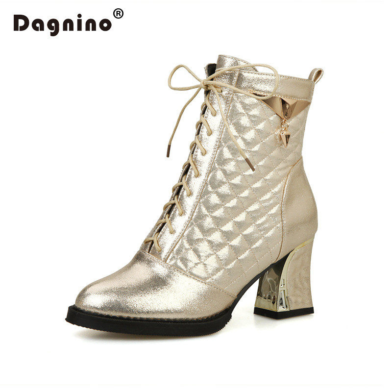 DAGNINO Fashion Thick High Heel Pumps Women Metal Decoration Ankle Martin Boots Square Toe Shoes Big Size 34-48 Zapatos Mujer<br>