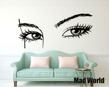 Mad World-Sexy Girl Eyelashes Makeup Eyes Wall Art Stickers Decal Home DIY Decoration Wall Mural Removable Decor Wall Stickers