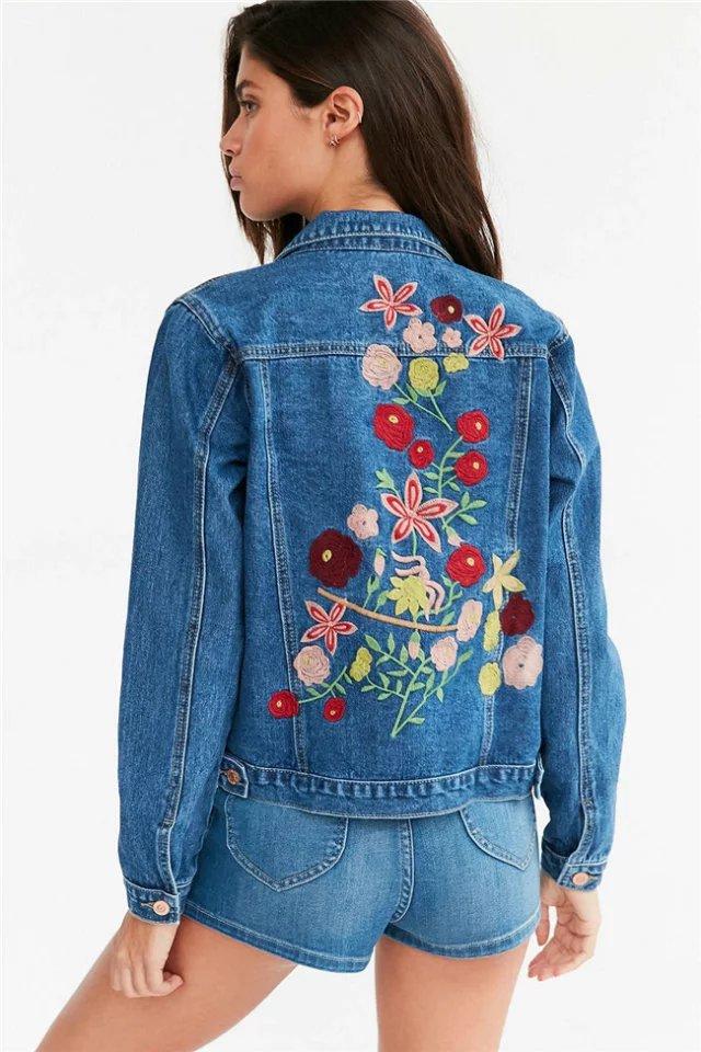 H&M - Black Embroidered Denim Jacket - Lyst