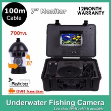 100M Cable Underwater Fish Finder SONY CCD 12Pcs White Leds Camera Nightvision fishing camera With DVR Rotate 360 Degree