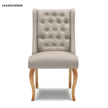 iKayaa Home Dining Chair Tufted Kitchen Chair Linen Fabric Accent Chair Upholstered Side Living Room Chair Rubber Wood Legs