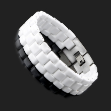 2017 Good Quality Men Bracelets Stainless Steel Clasp White Ceramic Bracelet Bangle For Men Women 17 mm Width Men Charm Jewelry