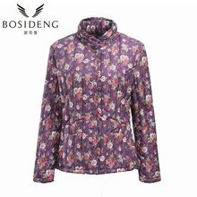 BOSIDENG women's clothing flower print down coat stand collar elderly women Chinese style big size clearance sale B1501614B(China)