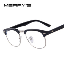 MERRY'S Classic Retro Clear Lens Men Eyeglasses Women Half Metal Half Metal Eyewear