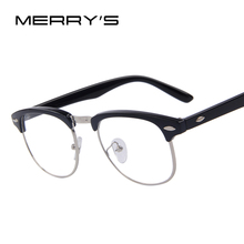 MERRY'S Classic Retro Clear Lens Men Eyeglasses Women Half Metal Half Metal Eyewear(China)