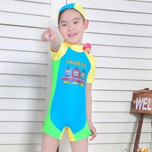 Discount Children Boy Thomas Swimwear Boys Kids One Piece Swimming Clothing Boys Surfing Suit For 4-7years Old(China)