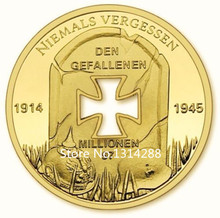 Sample order free shipping 1pcs German WW2 special Iron Cross coin designs 24k gold plated coin high quality Ebay hot sale