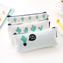 Brief Style Green Cactus Canvas Large Capacity Pencil Bag Stationery Storage Organizer Case School Supply(China)